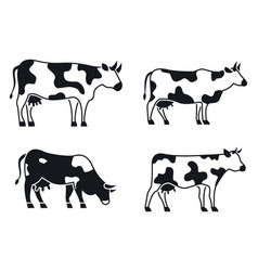 cow animal icons set simple style vector image