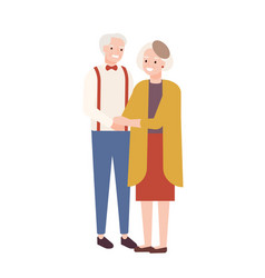 cute elderly couple in love old man and woman vector image