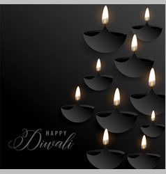 Dark diwali background with floating diyas vector