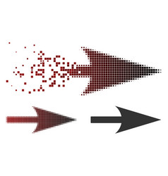 Decomposed pixelated halftone arrow axis x icon vector