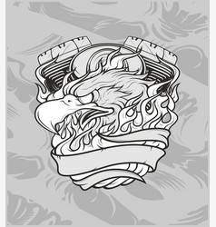 eagle with machinehand drawingshirt designs biker vector image