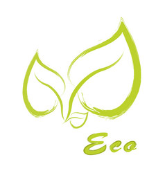 eco label round emblem painted icon for vector image