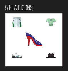 Flat clothes set of trunks cloth heeled shoe vector