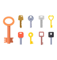 flat of different type of keys vector image