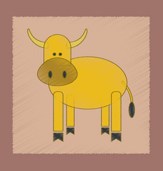 flat shading style icon kids cow vector image