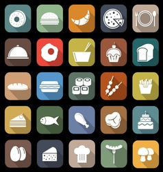 Food flat icons with long shadow vector