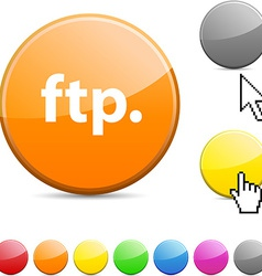 FTP glossy button vector image