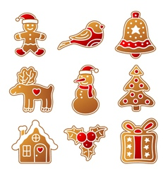 Gingerbread Christmas set vector image
