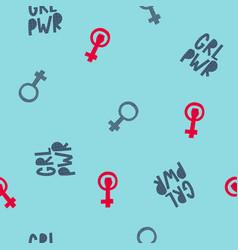 Girl woman power seamless pattern vector