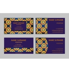 Golden and sapphire business-card set vector