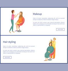 Hair styling and makeup posters set text spa salon vector
