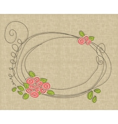 Hand drawn frame with flowers vector