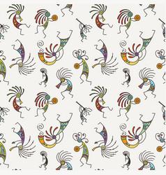 Hand drawn kokopelli seamless pattern stylized vector