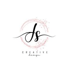 Handwritten js j s letter logo with sparkling vector