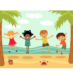 Happy kids in summer vector