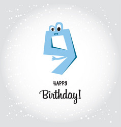 happy ninth birthday postcard blue number nine vector image