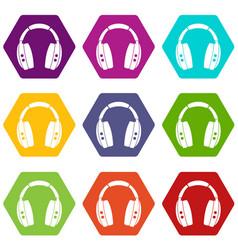 headphones icon set color hexahedron vector image