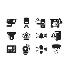 home security sensors icons set vector image