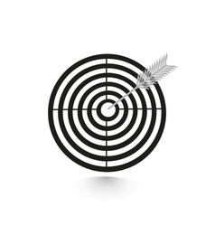 Icon flat target with dart in black isolated vector