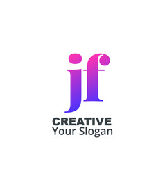 Initial letter jf lowercase design logo template vector