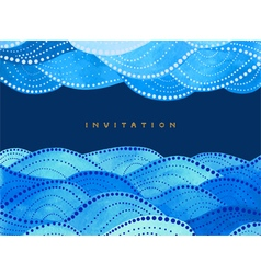 Invitation on navy blue background with waves vector