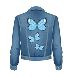 jeans jacket with patches vector image