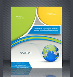 Layout business flyer with world map magazine vector