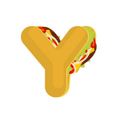 Letter y tacos mexican fast food font taco vector
