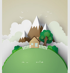Little house on hill with green grass vector