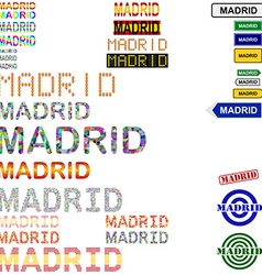Madrid text design set vector