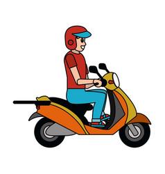 man driving motorcycle cartoon vector image