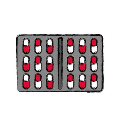 Medicine tablets blister pack icon vector