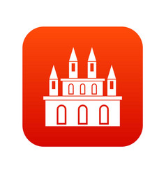 medieval castle icon digital red vector image vector image