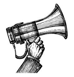 megaphone horn in hand sketch vector image