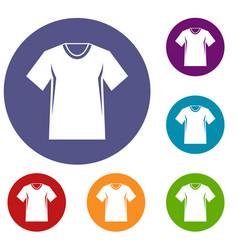 men tennis t-shirt icons set vector image