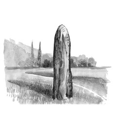 Menhir neolithic watercolor megalithic vector
