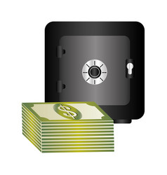 Metal strong box with stacked banknote with dollar vector