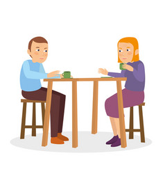 Midle age couple talking on the restaurant table vector