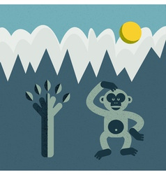 Monkey and tree vector image