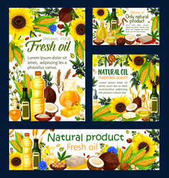 natural oil cooking dressing plants and nuts vector image