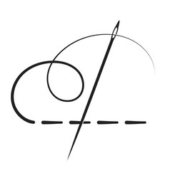 Needle and thread stitch vector