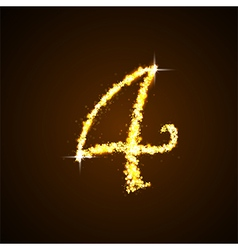 Number four gold glittering stars vector