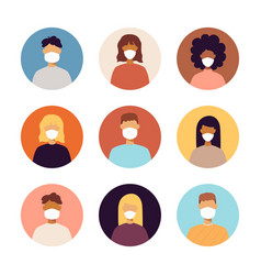 people face masks portraits icons vector image