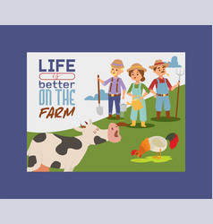 people live and work on farm banner vector image