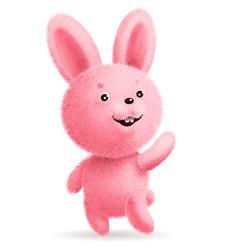 Pink fluffy rabbit standing and waving its paw vector