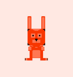Pixelated bunny 8 bit pixel art - isolated vector