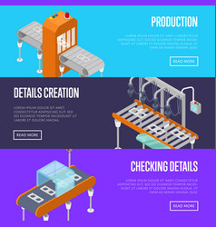 production line isometric 3d posters set vector image