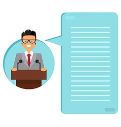 Professor or businessman on tribune vector image