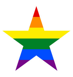 Rainbow flag in star shape vector