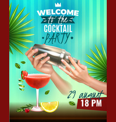 Realistic cocktail party poster vector